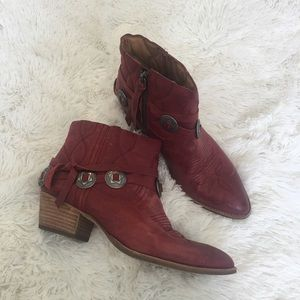 Dolce vita Skye Red Western Harness Ankle Boots